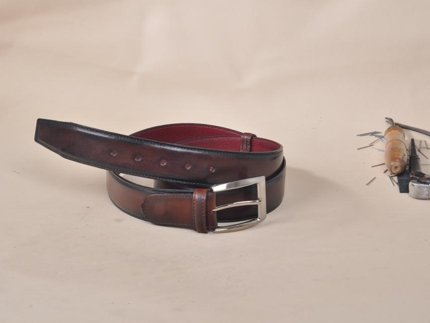 TucciPolo Dark Brown Handpolished Mens Leather Luxury Belt