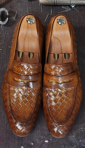 TucciPolo Digno-T Stylish Tobacco Chequeboard Woven Italian Leather Handmade Mens Loafer Shoe