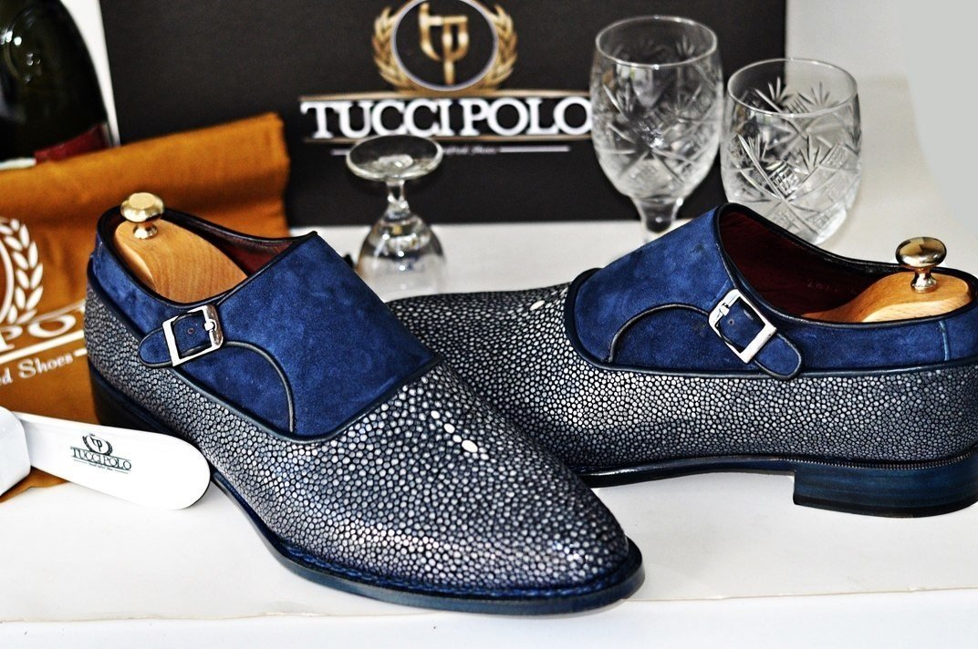 TucciPolo Genuine Blue Stingray with Half Suede Handmade Mens Luxury Shoe