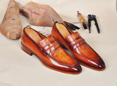 TucciPolo Handmade Leather Luxury Handstitched Tan Mens Loafers Shoe