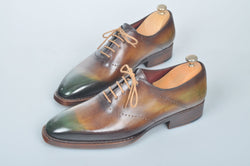 TucciPolo Handmade Luxury Brown and Green Goodyear Welted Oxford Mens Italian Leather Shoes