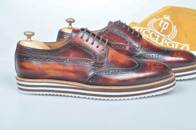 TucciPolo Limited Edition Handmade Sporty Luxury Burnished Brown Wingtip Brogue Mens Italian Leather Sneaker