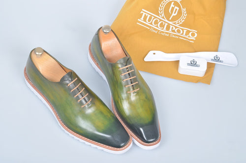 TucciPolo Limited Edition Sporty Handmade Luxury Greenish Mens Italian Leather Oxford Style Sneaker