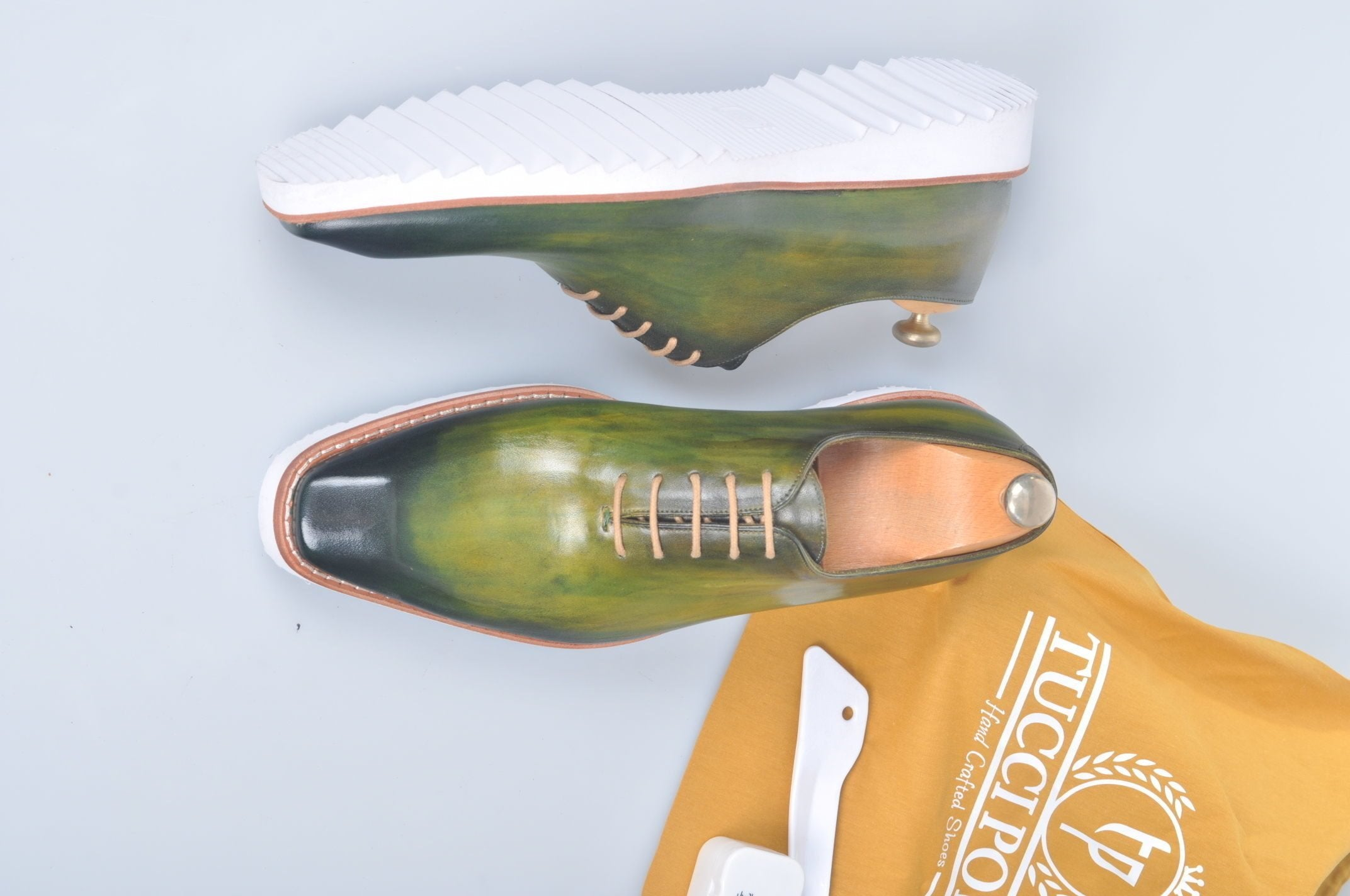 TucciPolo Limited Edition Sporty Handmade Luxury Greenish Mens Italian Leather Oxford Shoes With Eva Sole