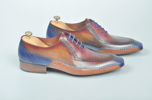 TucciPolo Handmade Luxury Multi-Color Brogue Side Handsewn Mens Italian Leather Oxford Shoes