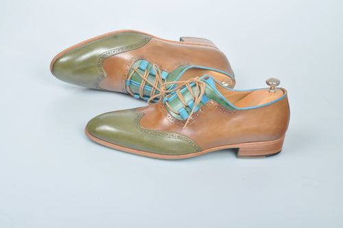 TucciPolo Handmade Luxury Tri-Color Brown and Green with Blue Trim Mens Italian Leather Shoes