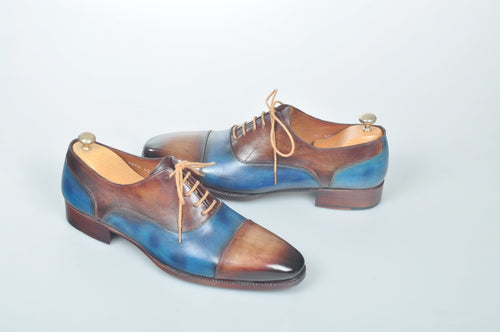 TucciPolo Handmade Luxury Two Tone Brown and Blue Mens Italian Leather Captoe Shoes