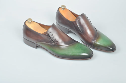 TucciPolo Handmade Luxury Two tone Green and Brown Mens Italian Leather Shoes