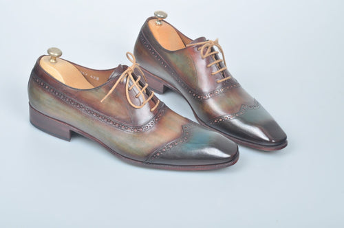 TucciPolo Handmade Luxury Wingtip Oxford Mens Italian Leather Shoes