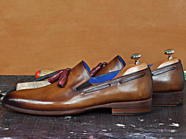 TucciPolo Karl Classic Mens Italian Leather Loafer with Tassels Handmade Shoes