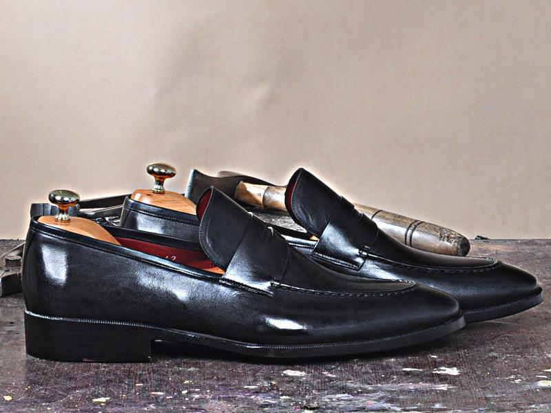 TucciPolo Luma Classic Elegant Black Italian Leather Mens Luxury Loafer Handmade Shoe