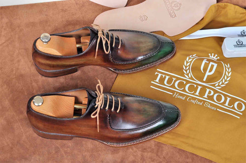 TucciPolo Mens Handmade Greenish Brown Oxford Side Handsewn Welted Italian Leather Core Luxury Shoe