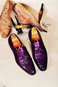 TucciPolo Men's Purple Crocodile Embossed Calfskin Luxury Tassel Loafer