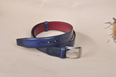 TucciPolo Navy Handpolished Mens Leather Luxury Belt