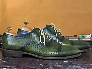 TucciPolo classic Laceup Mens Handmade Luxury Green Italian Leather Shoe