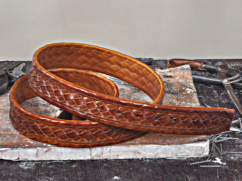 TucciPolo Tobacco Checkerboard Weave Mens Leather Luxury Handmade Belt