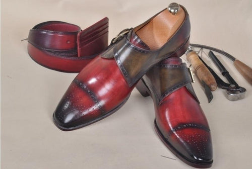 TucciPolo Verno Mens Full Grain Italian Leather Handmade Single Buckle Monkstrap Luxury Shoe