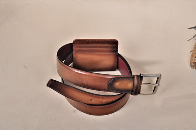 TucciPolo SET of Handmade Brown Belt & Card Holder  - ID#TP004MB
