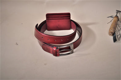 TucciPolo SET of Handmade Burgundy Belt & Card Holder - ID#TP007MB