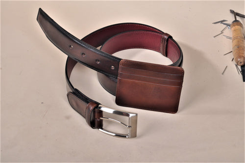TucciPolo SET of Handmade Dark Brown Belt & Card Holder  - ID#TP005MB