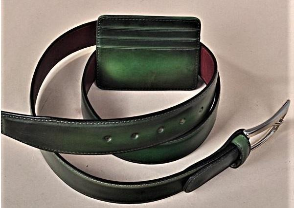 TucciPolo SET of Handmade Green Belt & Card Holder
