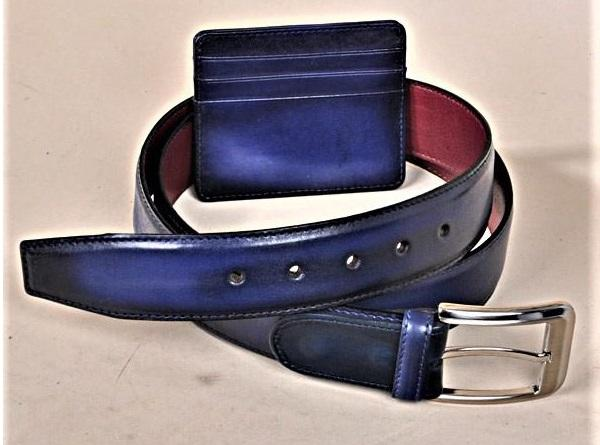 TucciPolo SET of Handmade Navy Belt & Card Holder