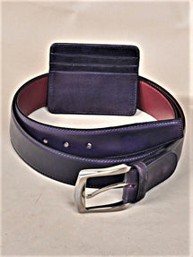 TucciPolo SET of Handmade Purple Belt & Card Holder