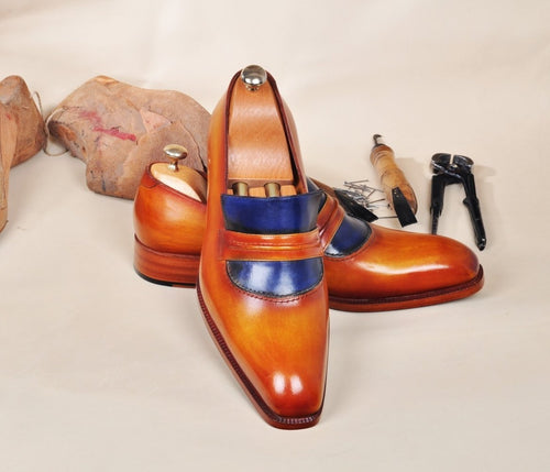 TucciPolo Handmade Leather Luxury Handpolished Tan & Blue Mens Loafers Shoe