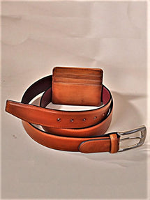 TucciPolo SET of Handmade Tobacco Belt & Card Holder