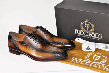 TucciPolo Kesington-TP Handmade Luxury Mens Brown Italian Leather Shoe