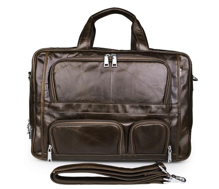TucciPolo 7289C 100% Genuine Vintage Leather Men's Coffee Business Briefcase Laptop Bag