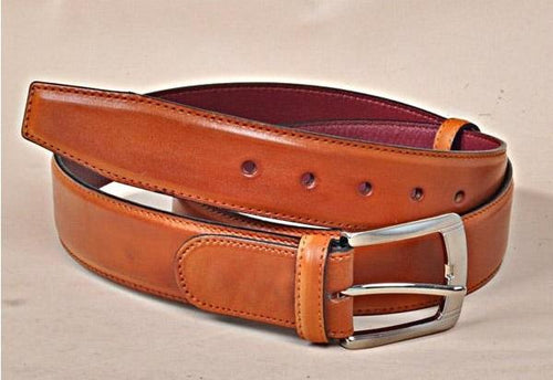 TucciPolo Tobacco Handpolished Mens Leather Luxury Belt