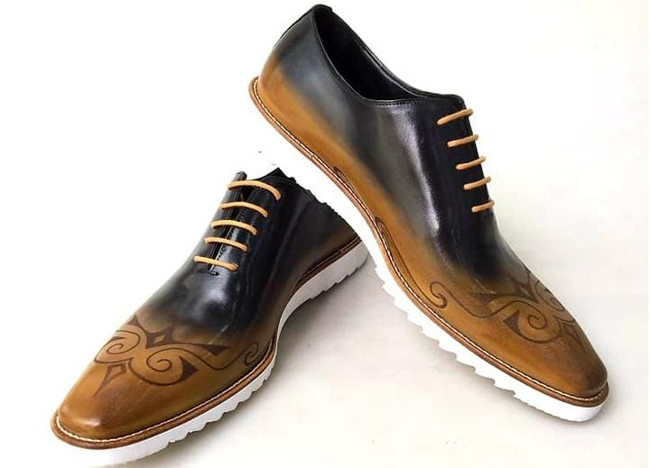 TucciPolo 2020 Handmade Italian Calf Skin Leather Oxford Style Casual two tone Black and brown Sneaker