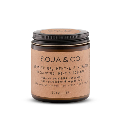 Soja and co - Bougie Eucalyptus, menthe et romarin - Boutique Ousias