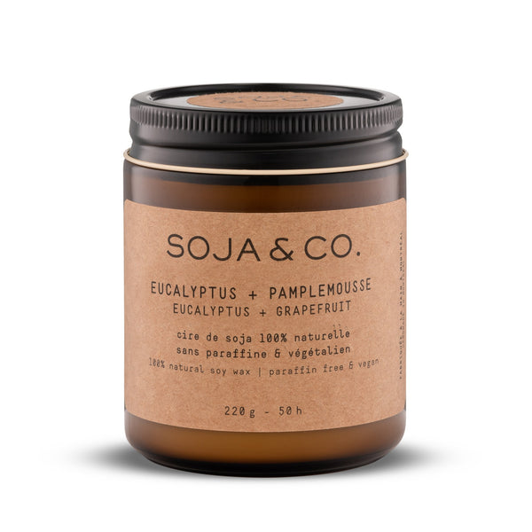 Soja and co - Bougie Eucalyptus et Pamplemousse - Boutique Ousias