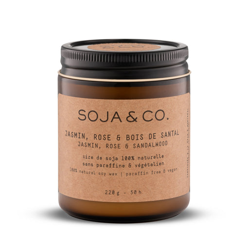Soja and co - Bougie Jasmin, rose et bois de santal - Boutique Ousias