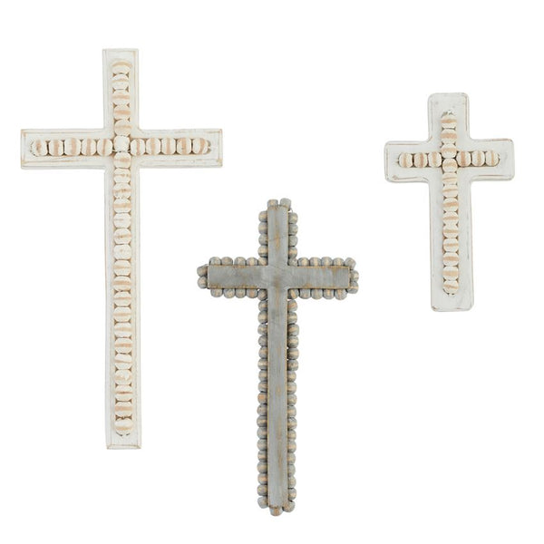 Cross | White-Washed Beaded