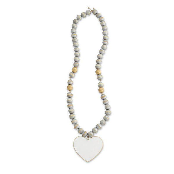 Decorative Beads | Marble Heart With Wood Beads