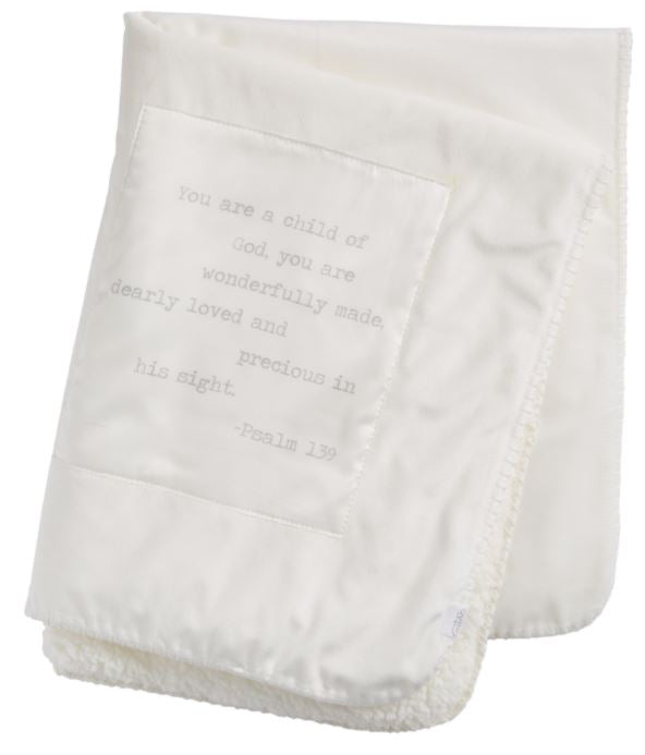 Sherpa Blanket With Psalm 139 (White)