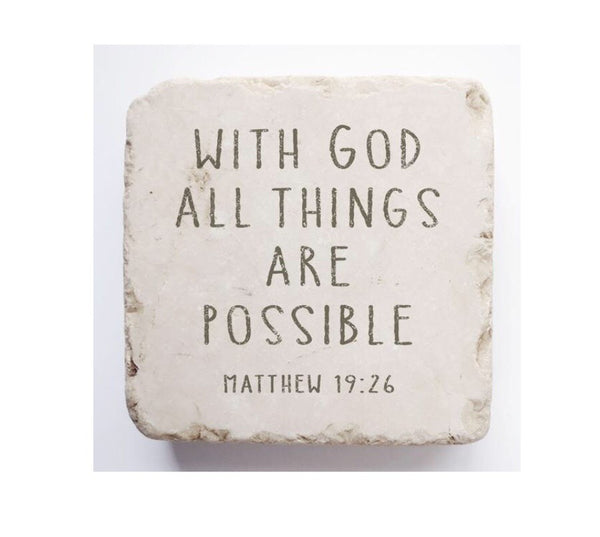 Tumbled Marble Scripture Stone-Matthew 19:26 Large