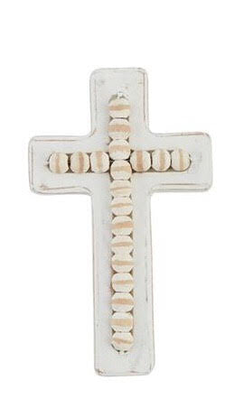 Cross | White Washed Beaded Small