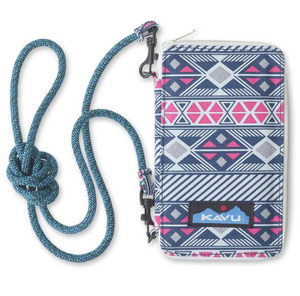 "Cross body bi-fold wallet with fixed rope shoulder strap that can detach, one main compartment with zip closure, internal zip pocket and multiple internal cash, card, ID slots.  It's go time!  Dimensions:  7"" x 4"" x 1"".  Fabric 12oz cotton canvas."