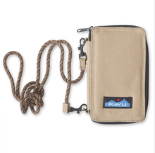 "Load image into Gallery viewer, Cross body bi-fold wallet with fixed rope shoulder strap that can detach, one main compartment with zip closure, internal zip pocket and multiple internal cash, card, ID slots.  It's go time!  Dimensions:  7"" x 4"" x 1"".  Fabric 12oz cotton canvas."