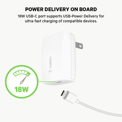 Cargador de Pared Belkin BOOST CHARGE USB-C 18W - Blanco