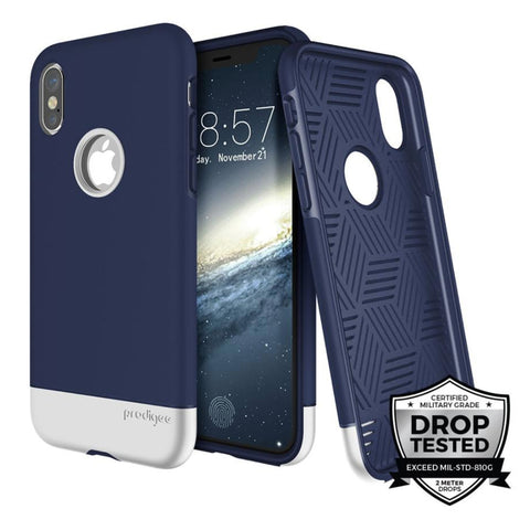 Prodigee - Case Fit Pro para iPhone X (Navy Blue Silver)