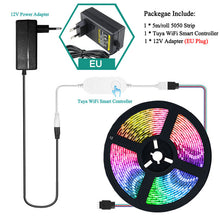 Load image into Gallery viewer, RGB LED Strip Light with Tuya Smart Life APP Wifi Controller DC12V 5050 60leds/m LED Flexible Strip Work With Alexa Google Home