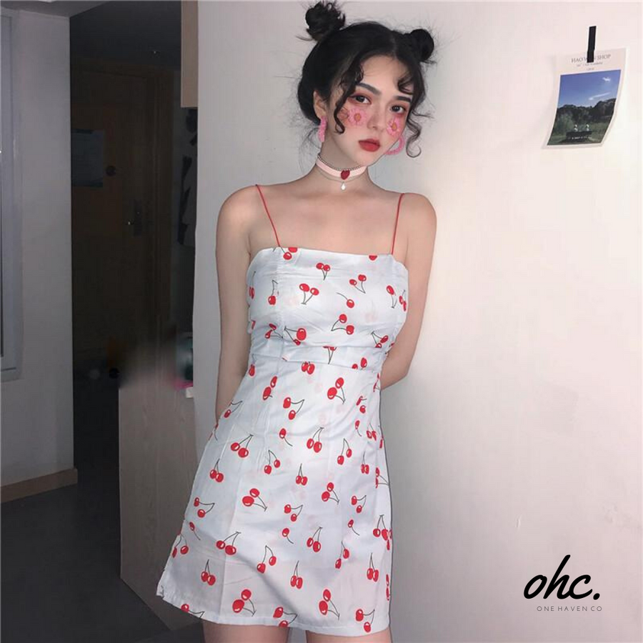 Cherry Small Strap Dress - OneHavenCo