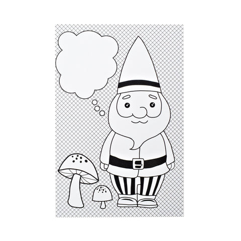 Color-in Gnome Postcard Pack