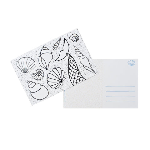 Color-in Mermaid Tail Postcard Pack