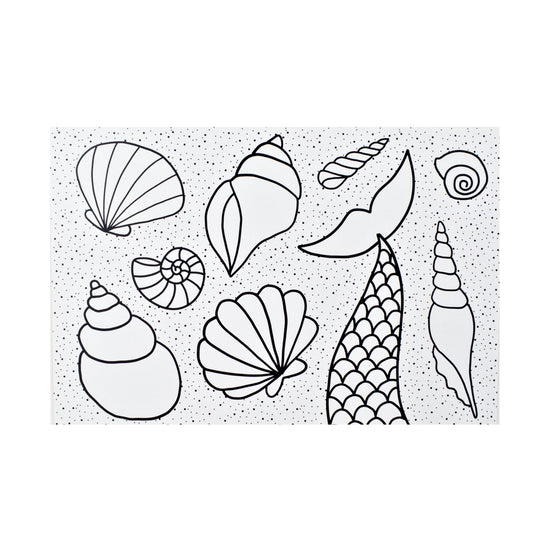 Color-in Mermaid Tail Postcard 20 Pack